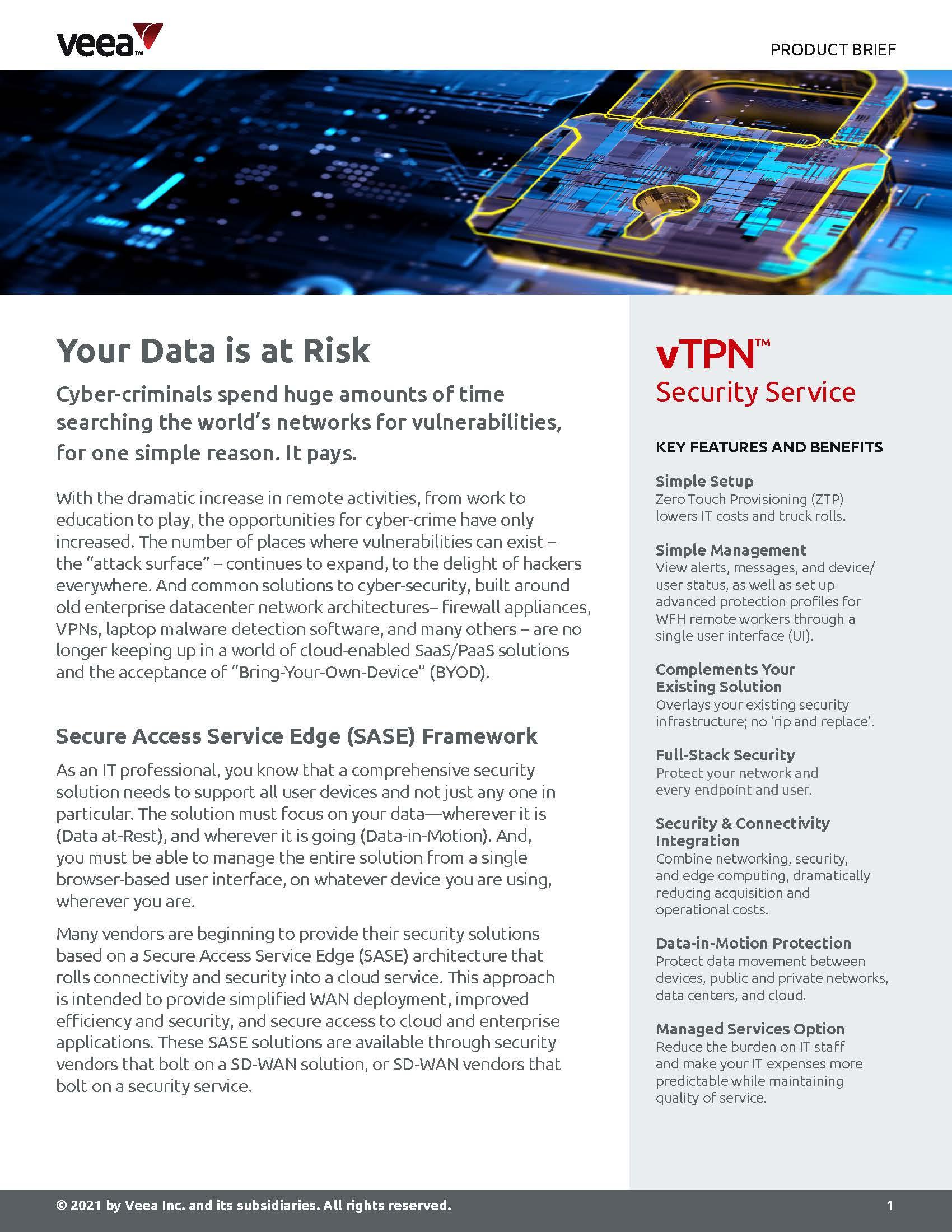 vTPN Product Brief cover